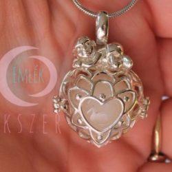 Babás szív gyöngykehely gyönggyel - 925 ezüst